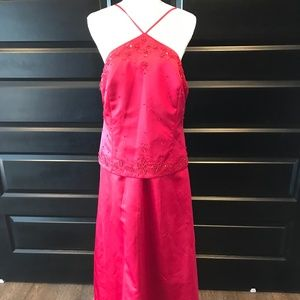 David's Bridal Burgundy Wine Prom Dress - Size 16